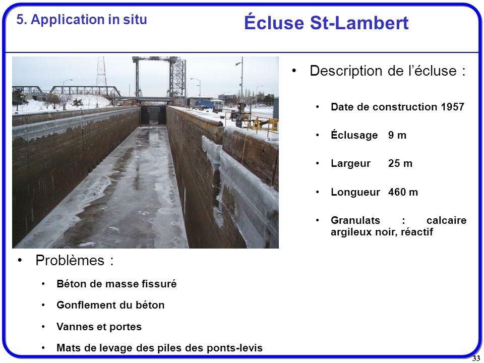 Écluse St-Lambert Description de l'écluse : Problèmes :