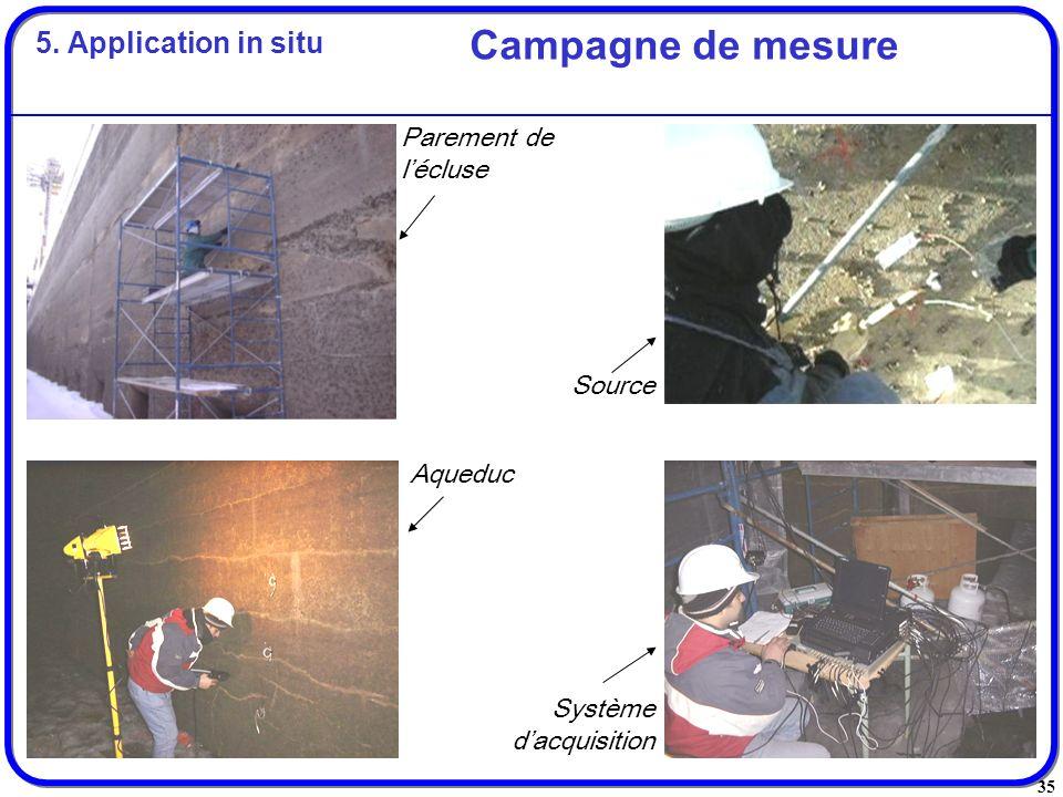 Campagne de mesure 5. Application in situ Parement de l'écluse Source