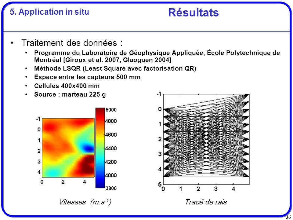 Résultats Traitement des données : 5. Application in situ
