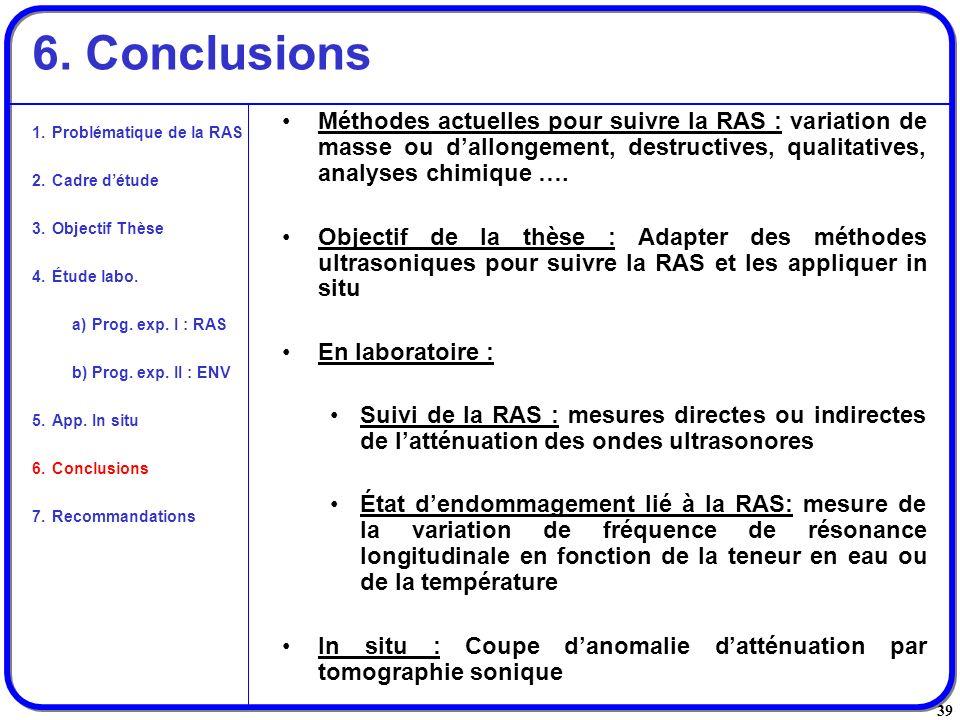 6. Conclusions Méthodes actuelles pour suivre la RAS : variation de masse ou d'allongement, destructives, qualitatives, analyses chimique ….