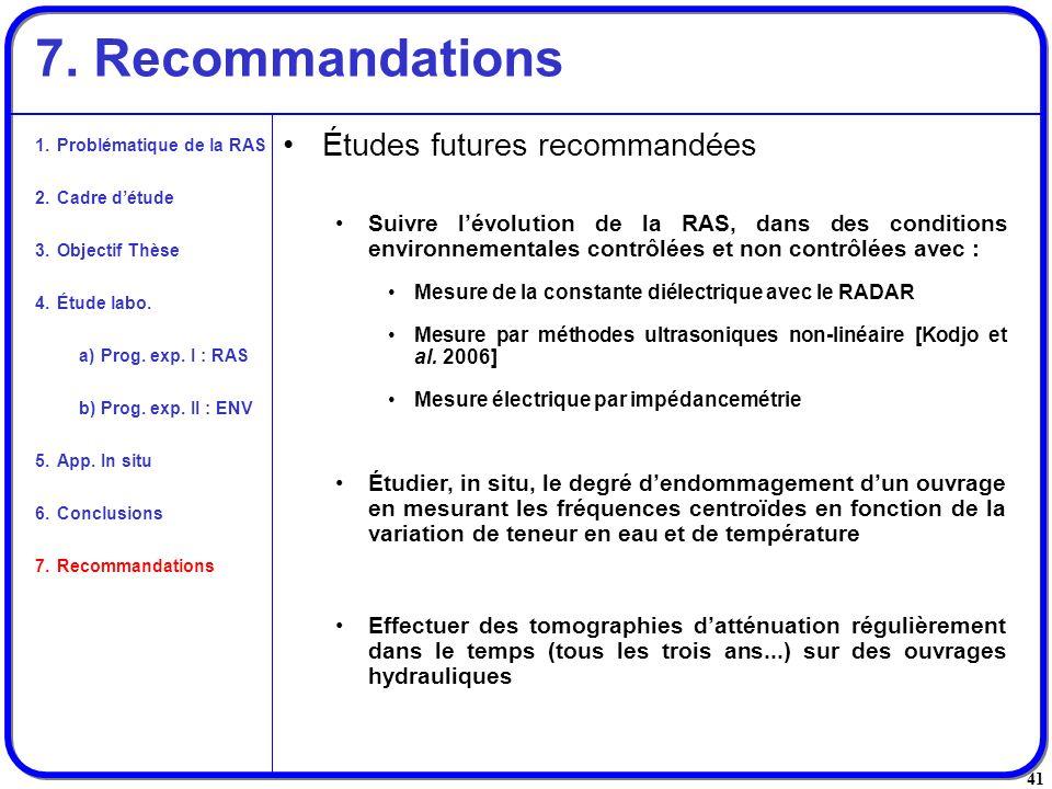 7. Recommandations Études futures recommandées