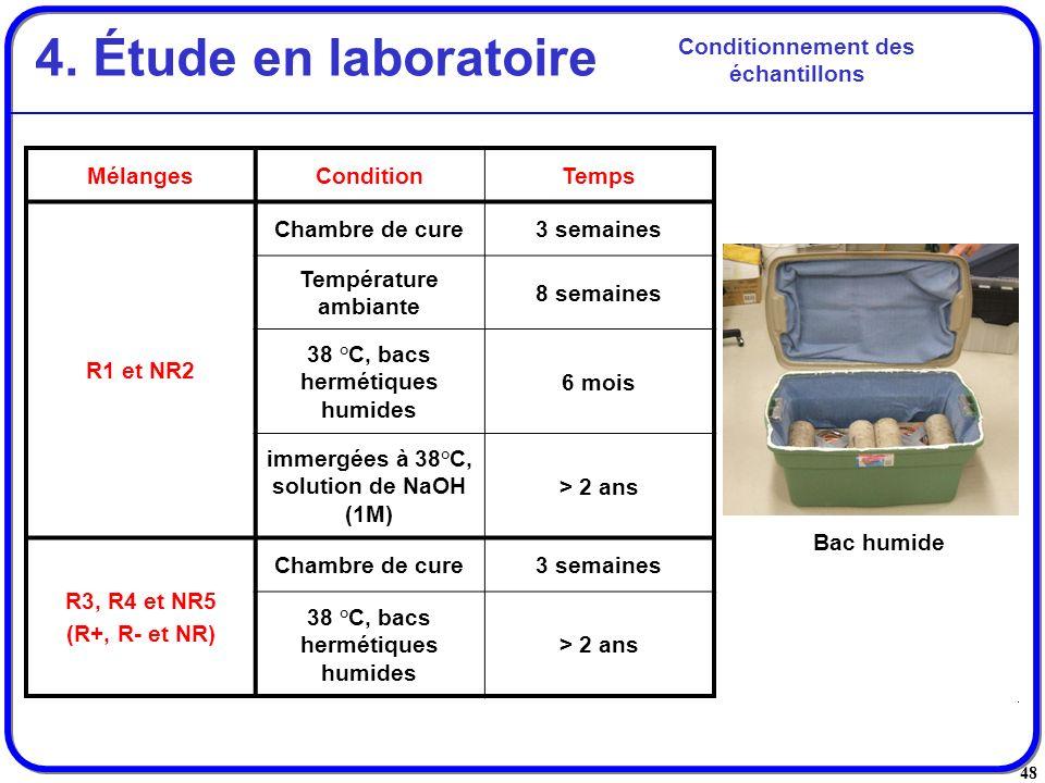 4. Étude en laboratoire Conditionnement des échantillons Mélanges