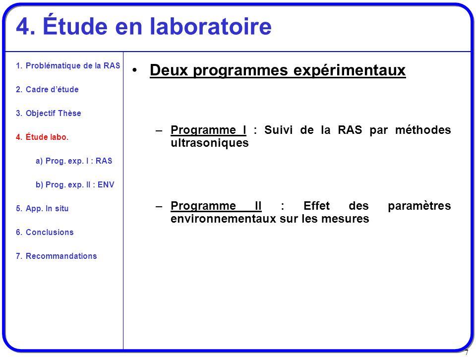 4. Étude en laboratoire Deux programmes expérimentaux