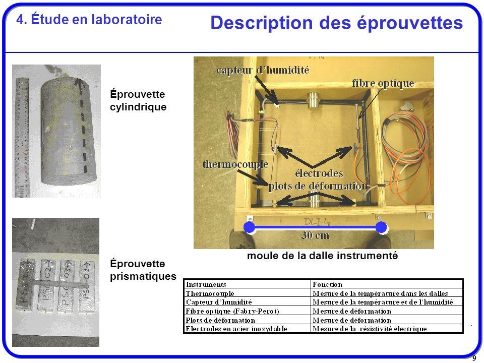 Description des éprouvettes moule de la dalle instrumenté