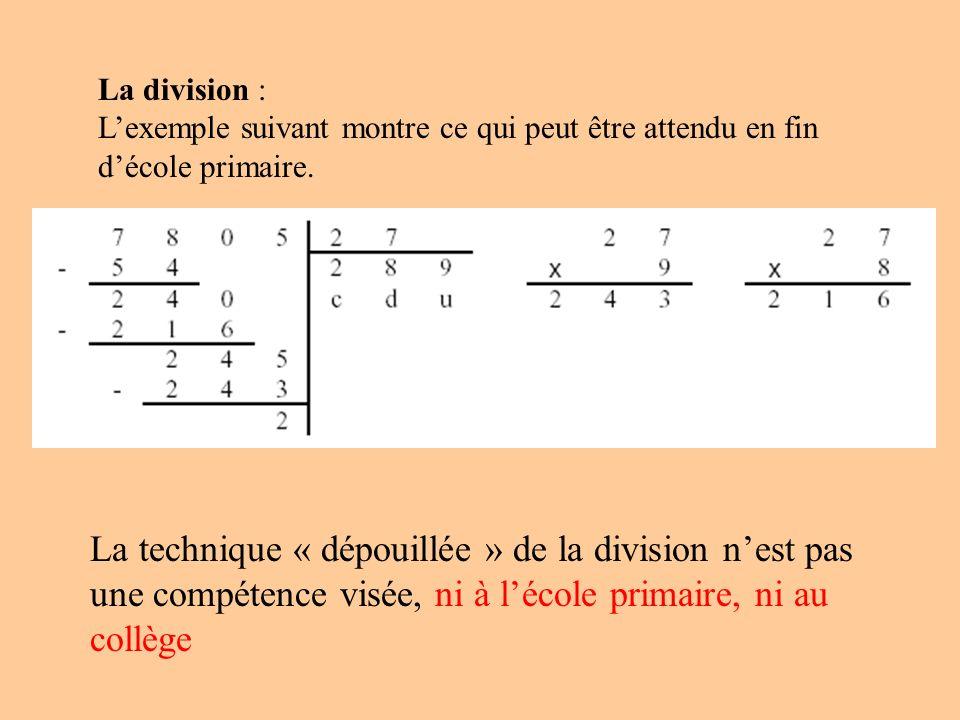 La division : L'exemple suivant montre ce qui peut être attendu en fin d'école primaire.