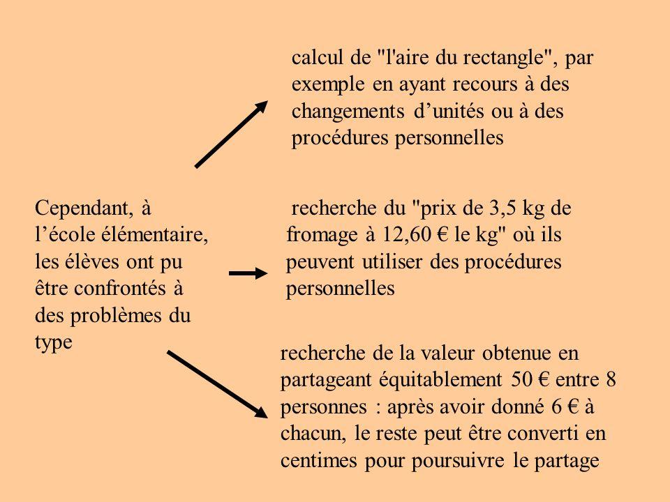 calcul de l aire du rectangle , par exemple en ayant recours à des changements d'unités ou à des procédures personnelles