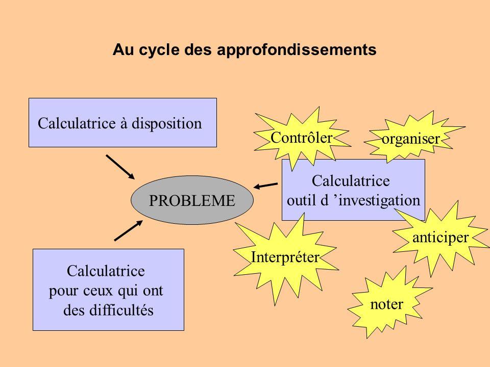Au cycle des approfondissements
