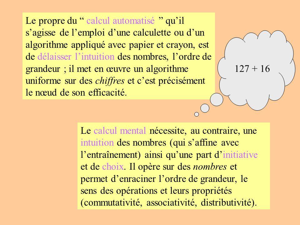 Le propre du calcul automatisé qu'il s'agisse de l'emploi d'une calculette ou d'un algorithme appliqué avec papier et crayon, est de délaisser l'intuition des nombres, l'ordre de grandeur ; il met en œuvre un algorithme uniforme sur des chiffres et c'est précisément le nœud de son efficacité.