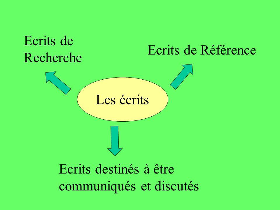 Ecrits de Recherche Ecrits de Référence Les écrits Ecrits destinés à être communiqués et discutés