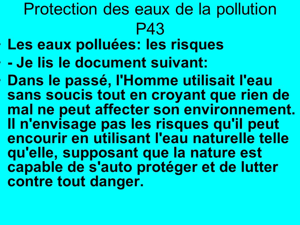 Protection des eaux de la pollution P43