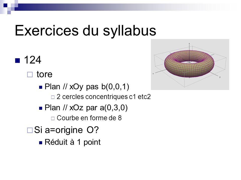 Exercices du syllabus 124 tore Si a=origine O