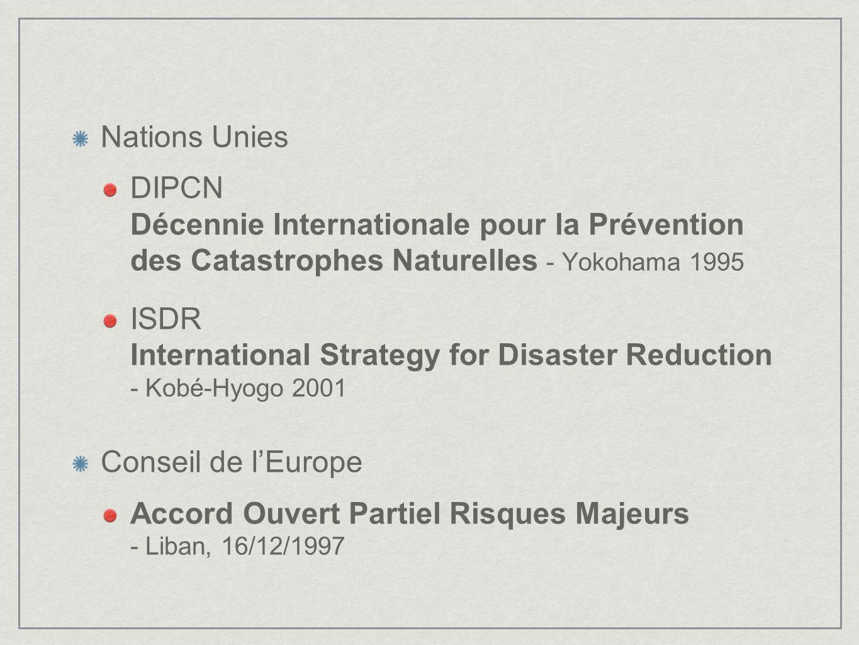 Nations Unies DIPCN Décennie Internationale pour la Prévention des Catastrophes Naturelles - Yokohama 1995.