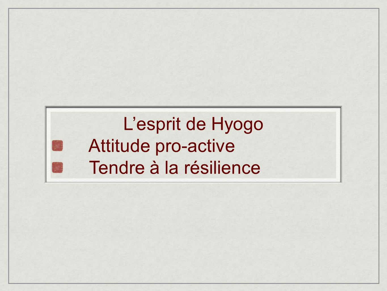 L'esprit de Hyogo Attitude pro-active Tendre à la résilience