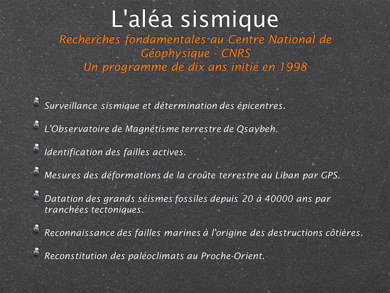 L aléa sismique Recherches fondamentales au Centre National de Géophysique - CNRS. Un programme de dix ans initié en 1998.