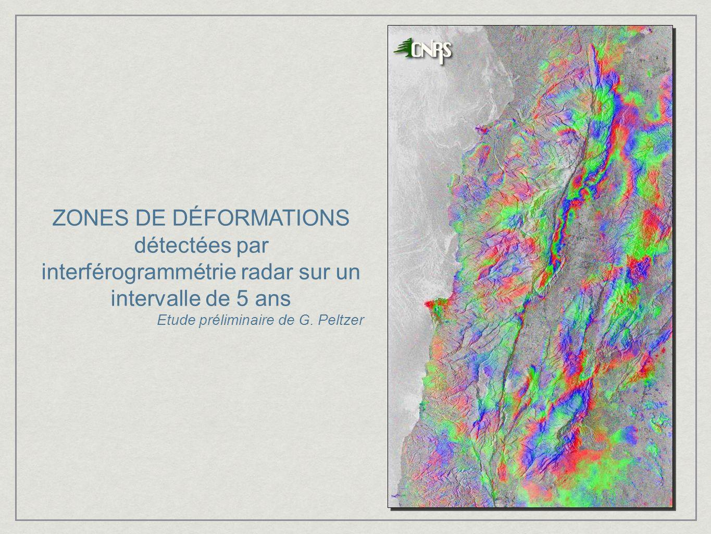 ZONES DE DÉFORMATIONS détectées par interférogrammétrie radar sur un intervalle de 5 ans
