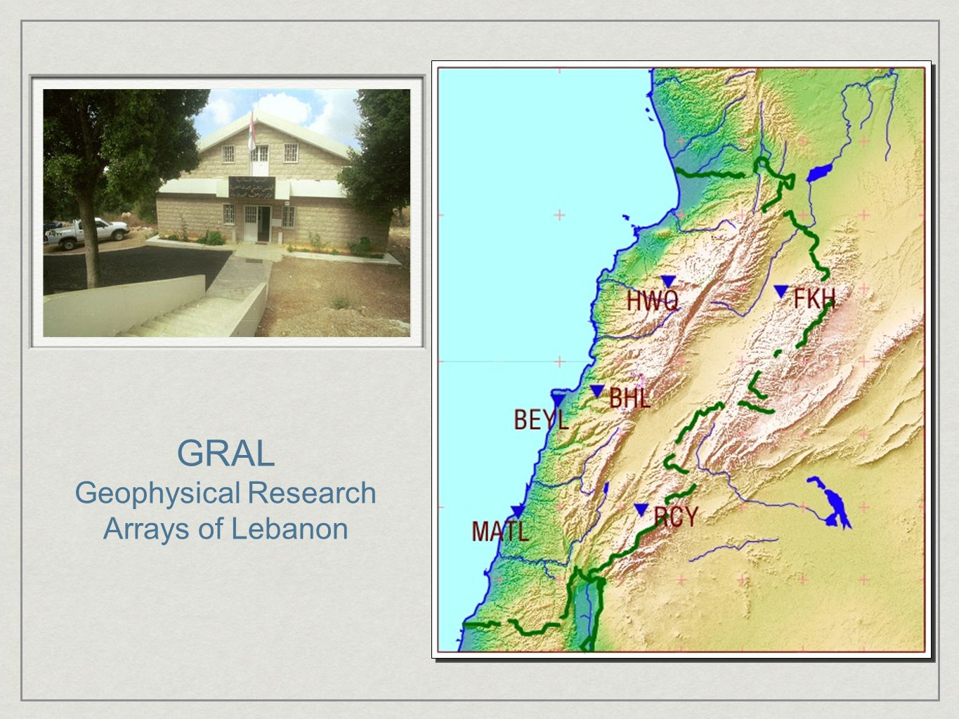 Geophysical Research Arrays of Lebanon