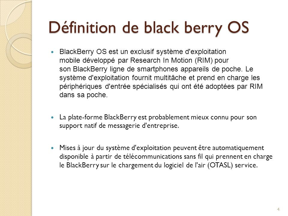 Définition de black berry OS