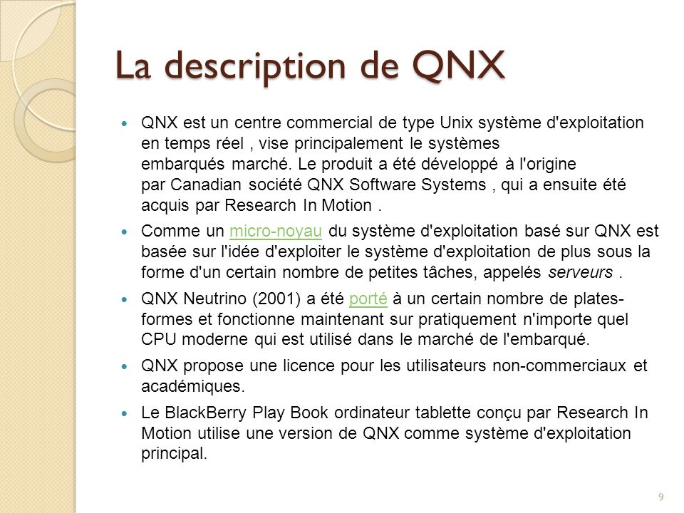 La description de QNX