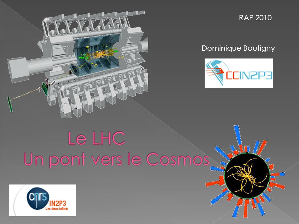 RAP 2010 Dominique Boutigny Le LHC Un pont vers le Cosmos