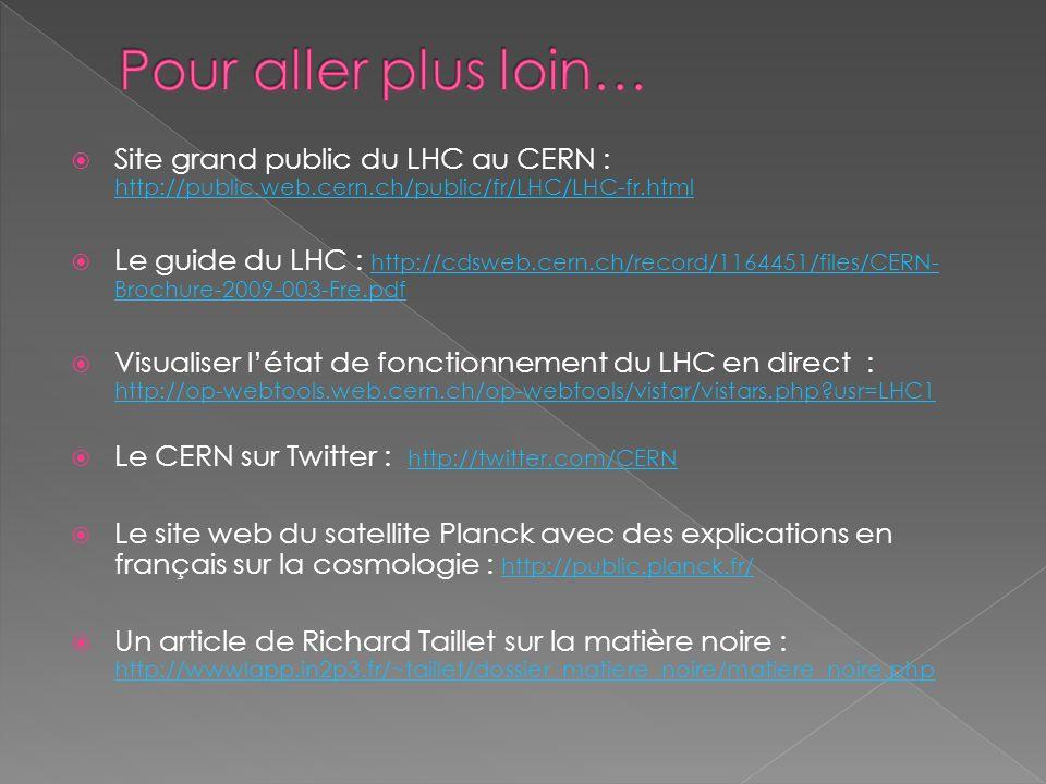 Pour aller plus loin… Site grand public du LHC au CERN : http://public.web.cern.ch/public/fr/LHC/LHC-fr.html.
