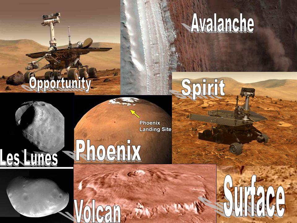 Avalanche LA PLANETE MARS Opportunity Spirit Phoenix Les Lunes Surface Volcan