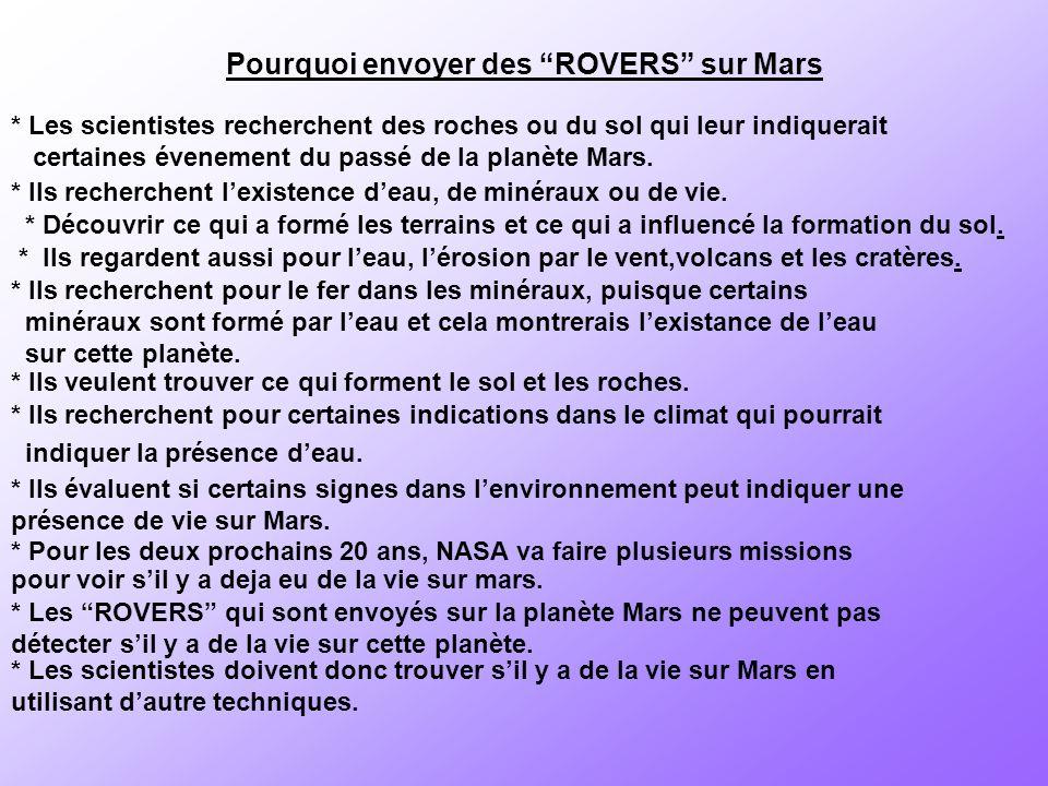 Pourquoi envoyer des ROVERS sur Mars