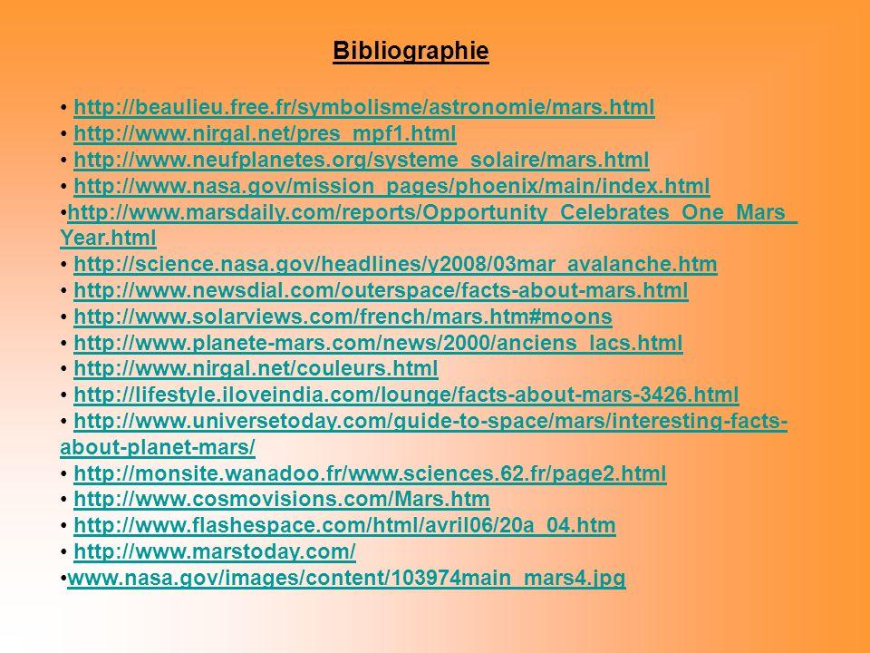 Bibliographie http://beaulieu.free.fr/symbolisme/astronomie/mars.html