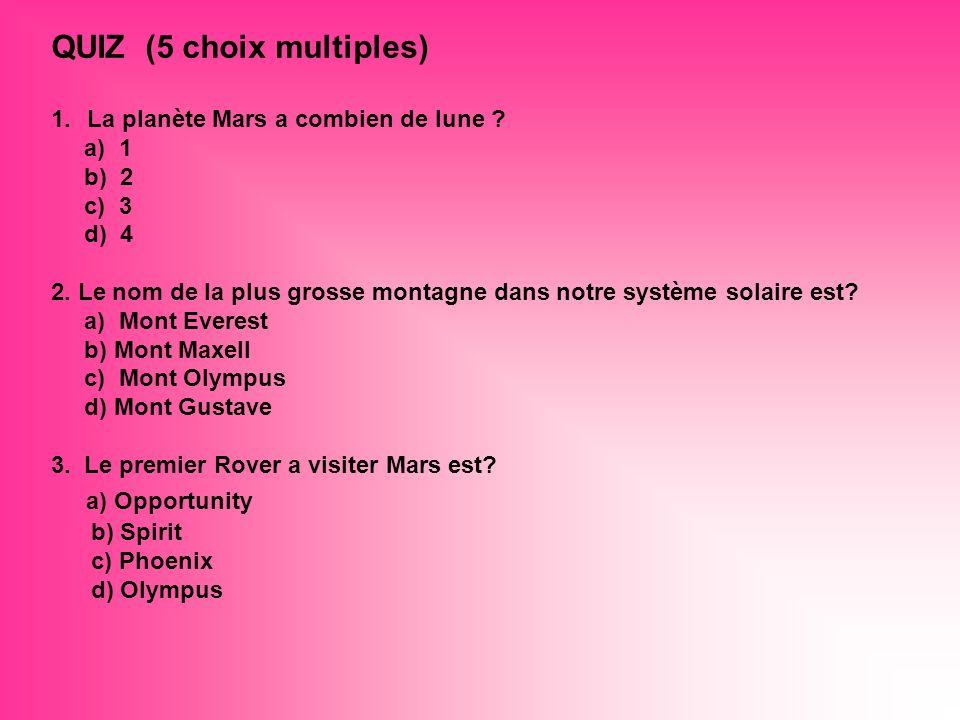 QUIZ (5 choix multiples)
