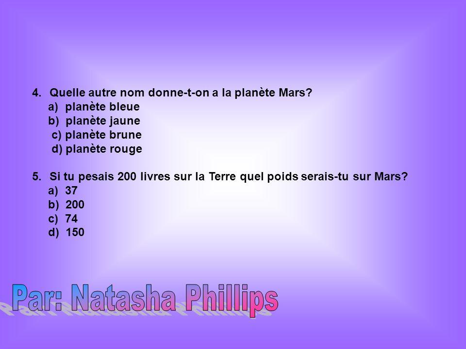 Par: Natasha Phillips Quelle autre nom donne-t-on a la planète Mars