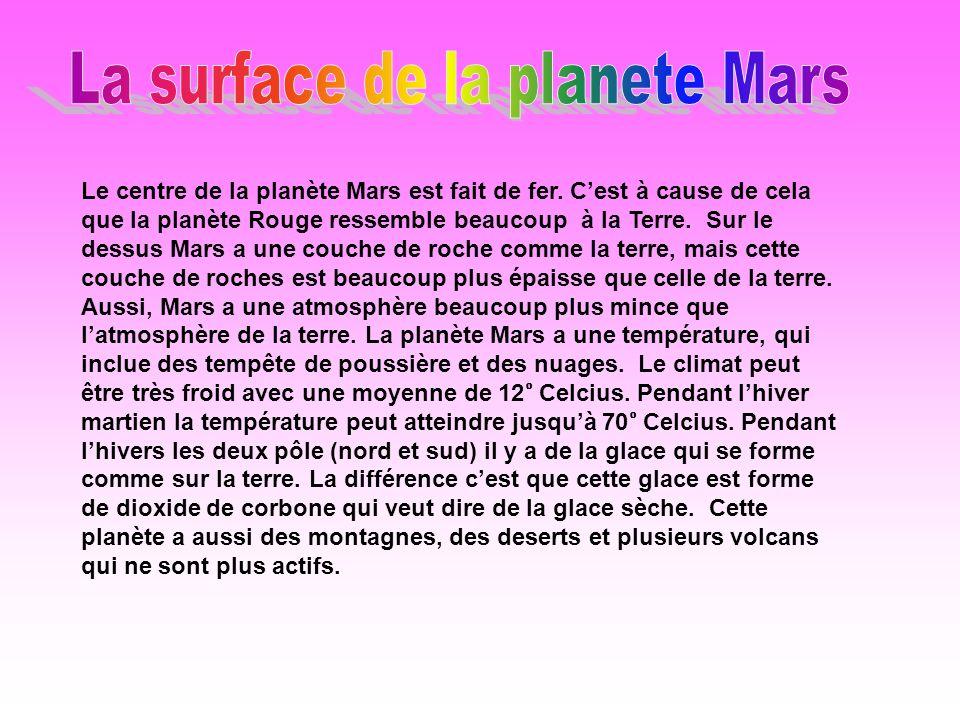 La surface de la planete Mars