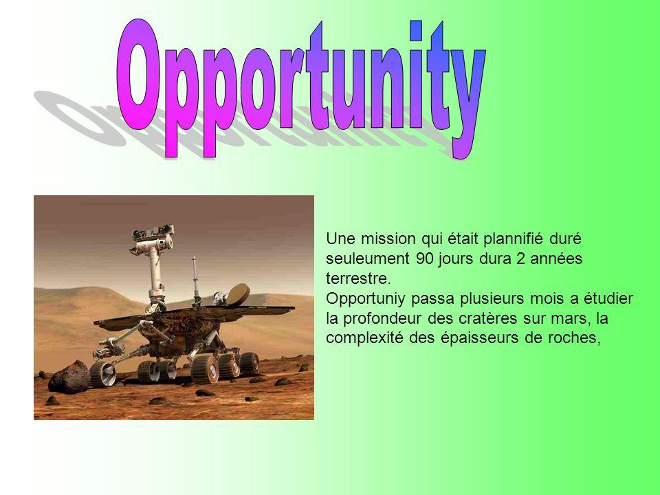 Opportunity Une mission qui était plannifié duré seuleument 90 jours dura 2 années terrestre.