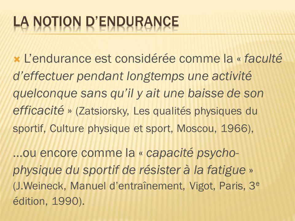 La notion d'endurance L'endurance est considérée comme la « faculté