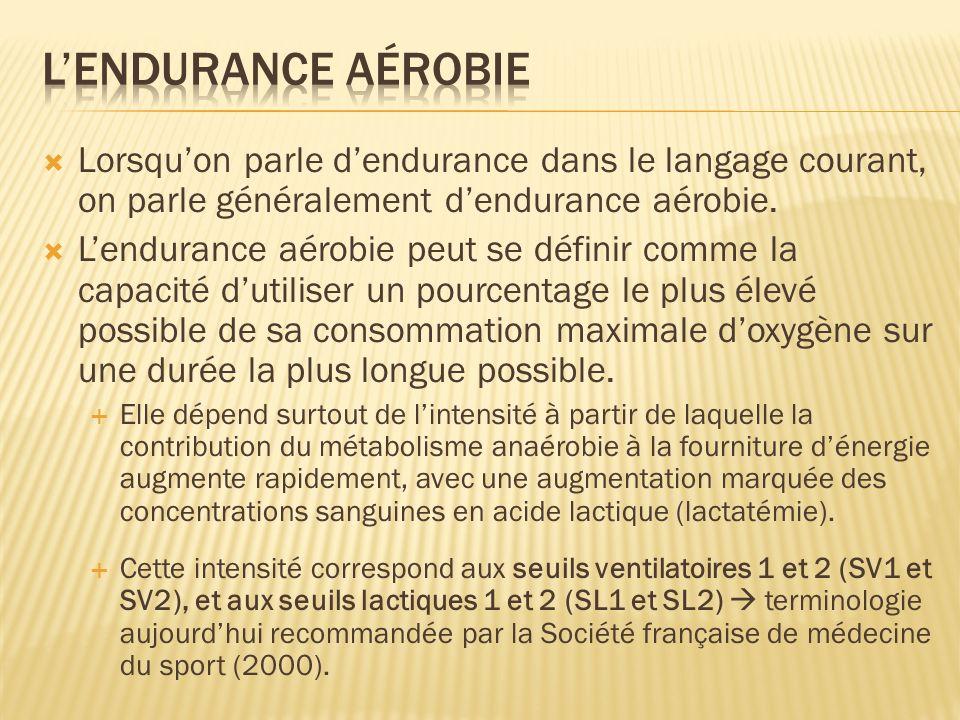 L'endurance aérobie Lorsqu'on parle d'endurance dans le langage courant, on parle généralement d'endurance aérobie.