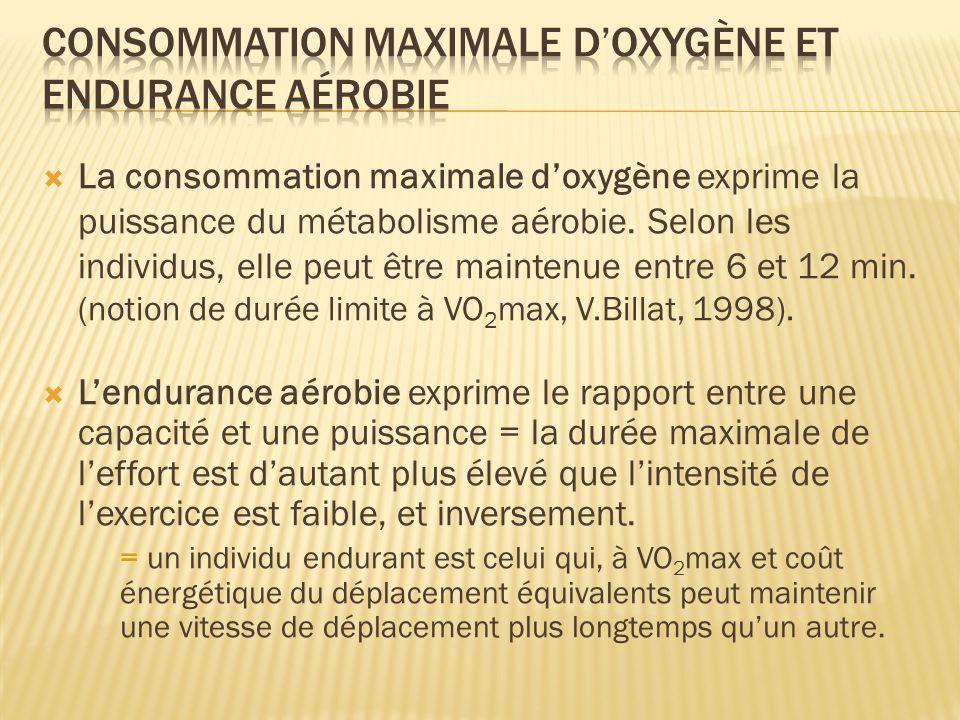 consommation maximale d'oxygène et endurance aérobie