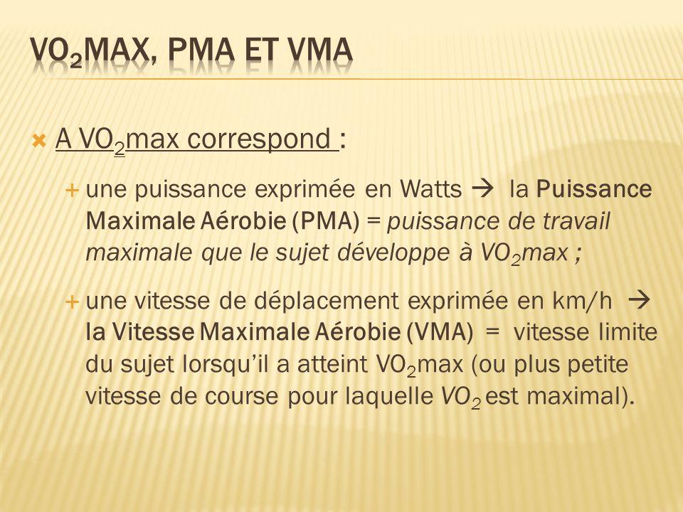 VO2max, PMA et VMA A VO2max correspond :
