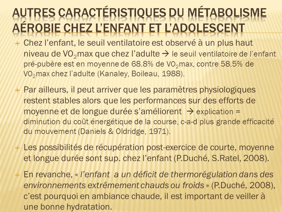 Autres caractéristiques du métabolisme aérobie chez l'enfant et l'adolescent