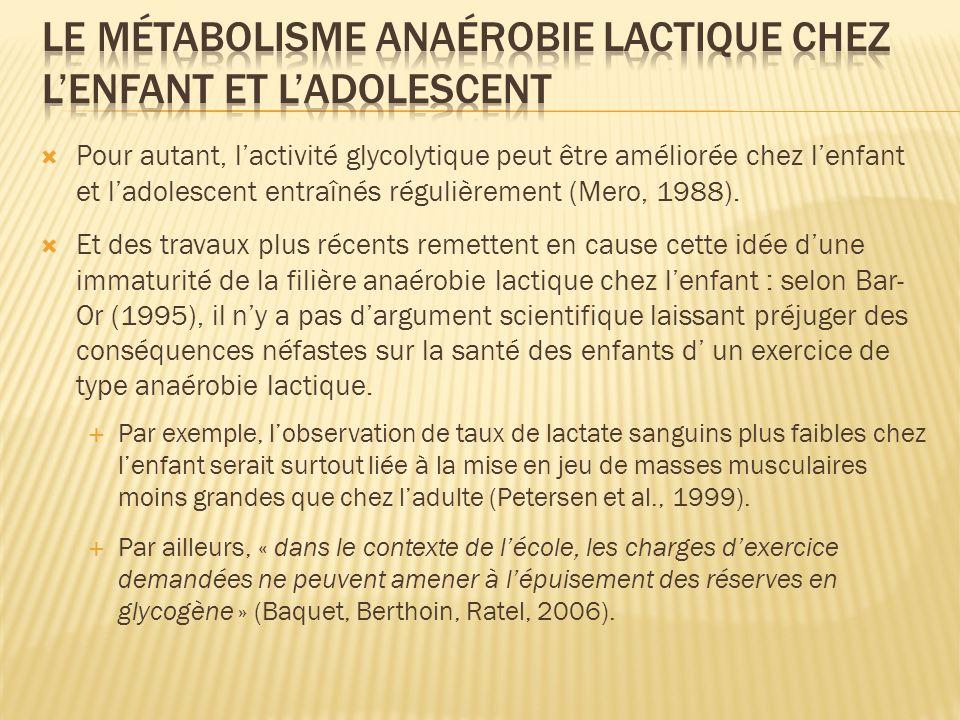 Le métabolisme anaérobie lactique chez l'enfant et l'adolescent