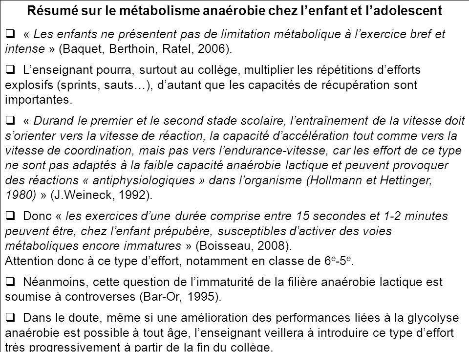 Résumé sur le métabolisme anaérobie chez l'enfant et l'adolescent