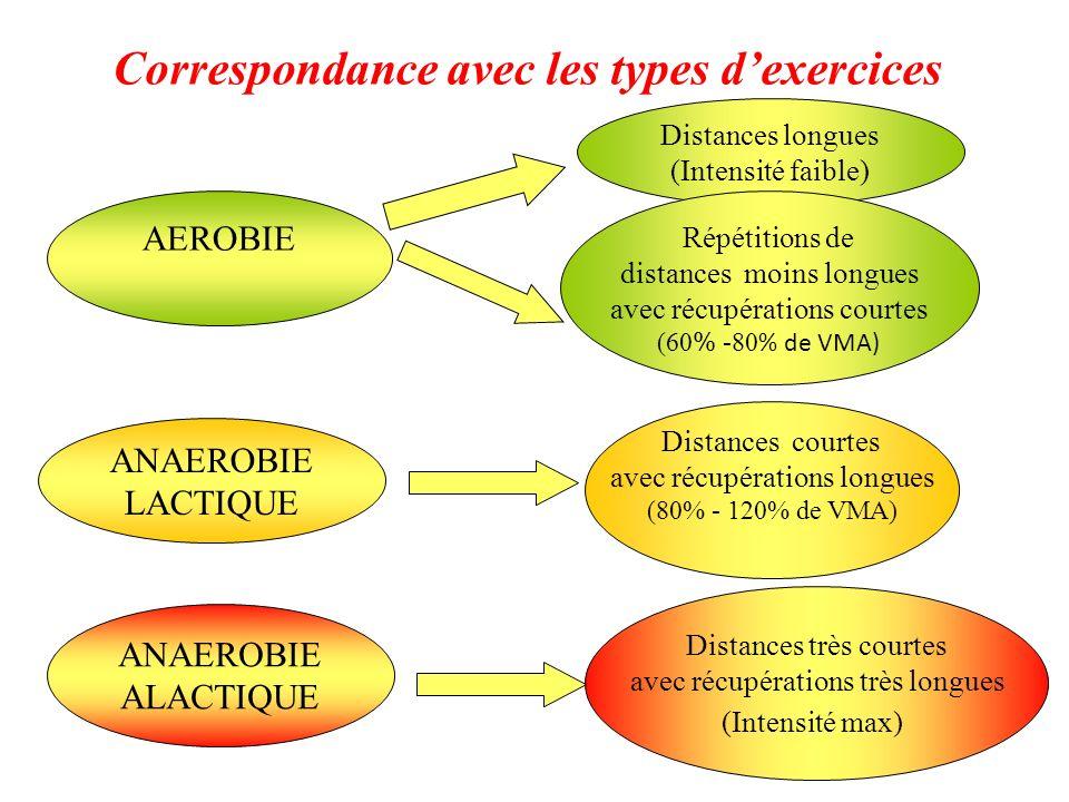Correspondance avec les types d'exercices