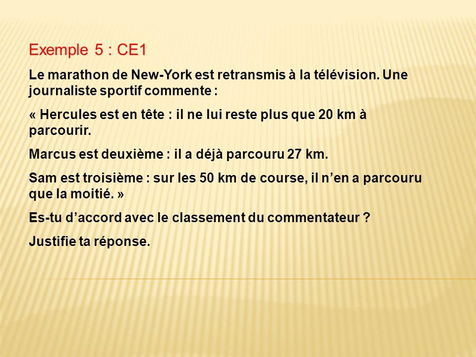 Exemple 5 : CE1 Le marathon de New-York est retransmis à la télévision. Une journaliste sportif commente :
