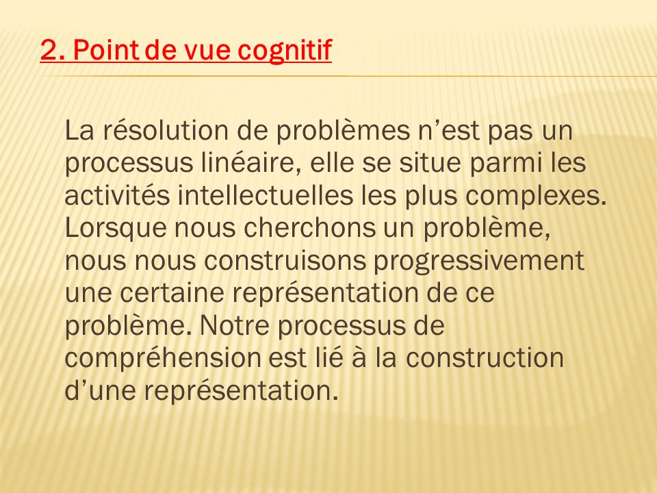 2. Point de vue cognitif