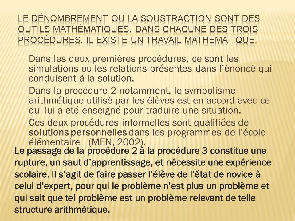 Le dénombrement ou la soustraction sont des outils mathématiques