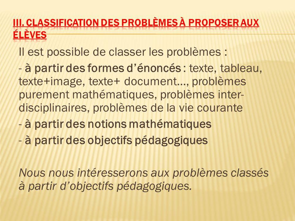 III. Classification des problèmes à proposer aux élèves