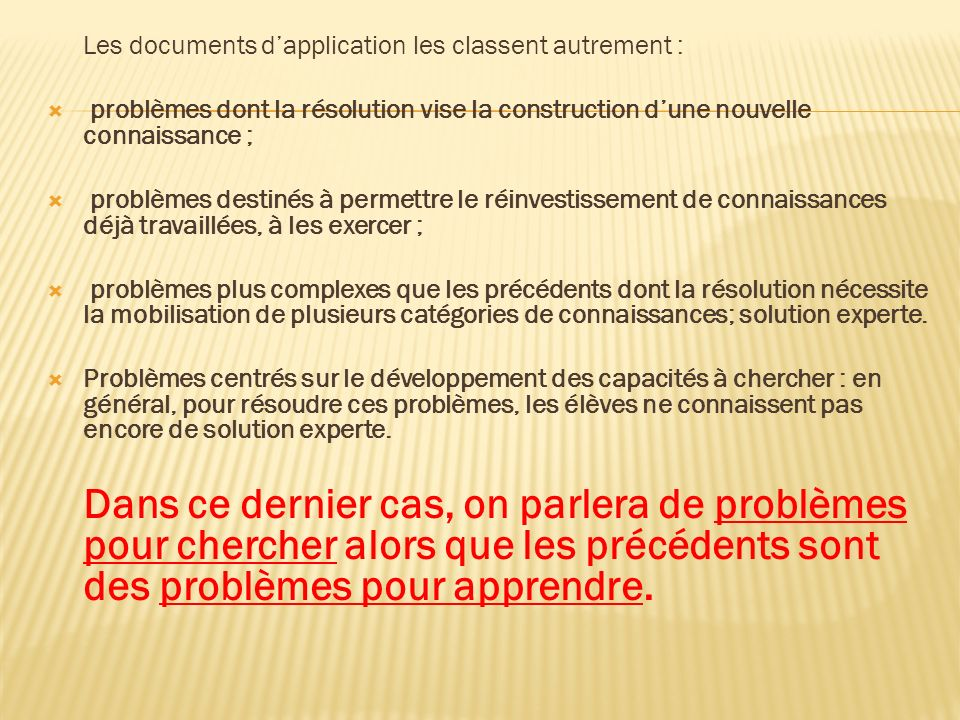 Les documents d'application les classent autrement :
