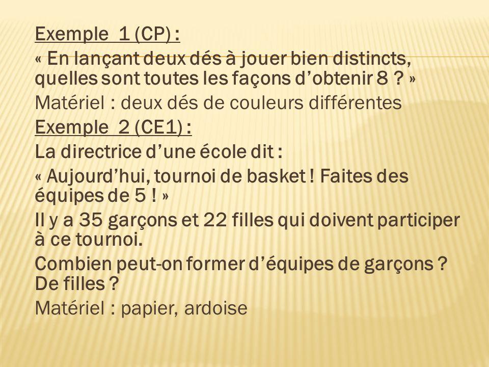 Exemple 1 (CP) : « En lançant deux dés à jouer bien distincts, quelles sont toutes les façons d'obtenir 8 »