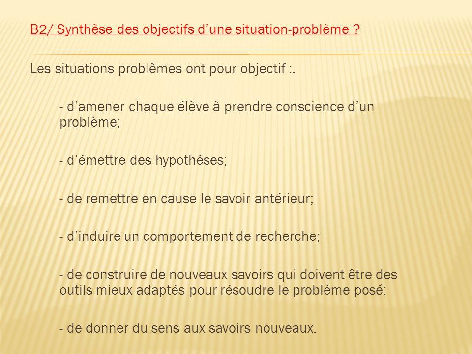 B2/ Synthèse des objectifs d'une situation-problème