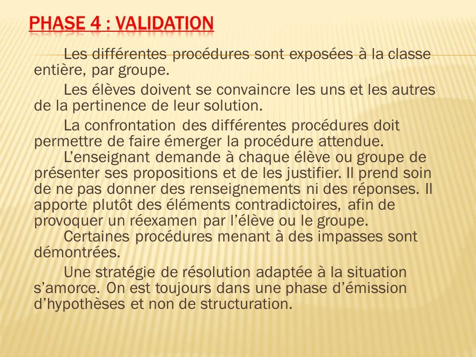 Phase 4 : validation Les différentes procédures sont exposées à la classe entière, par groupe.