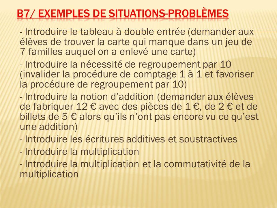 B7/ Exemples de situations-problèmes