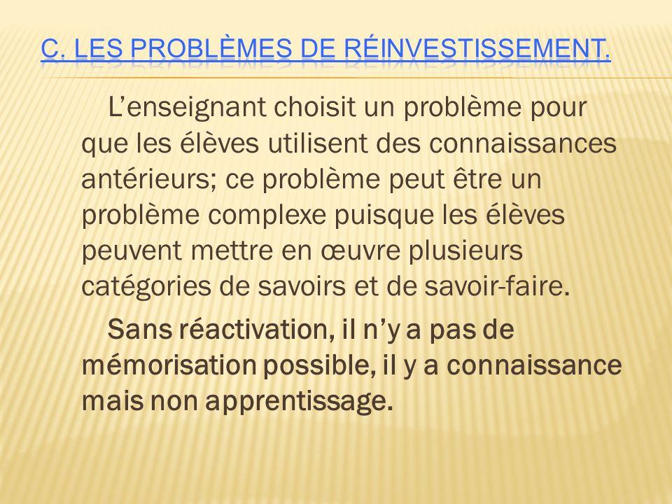 C. Les problèmes de réinvestissement.
