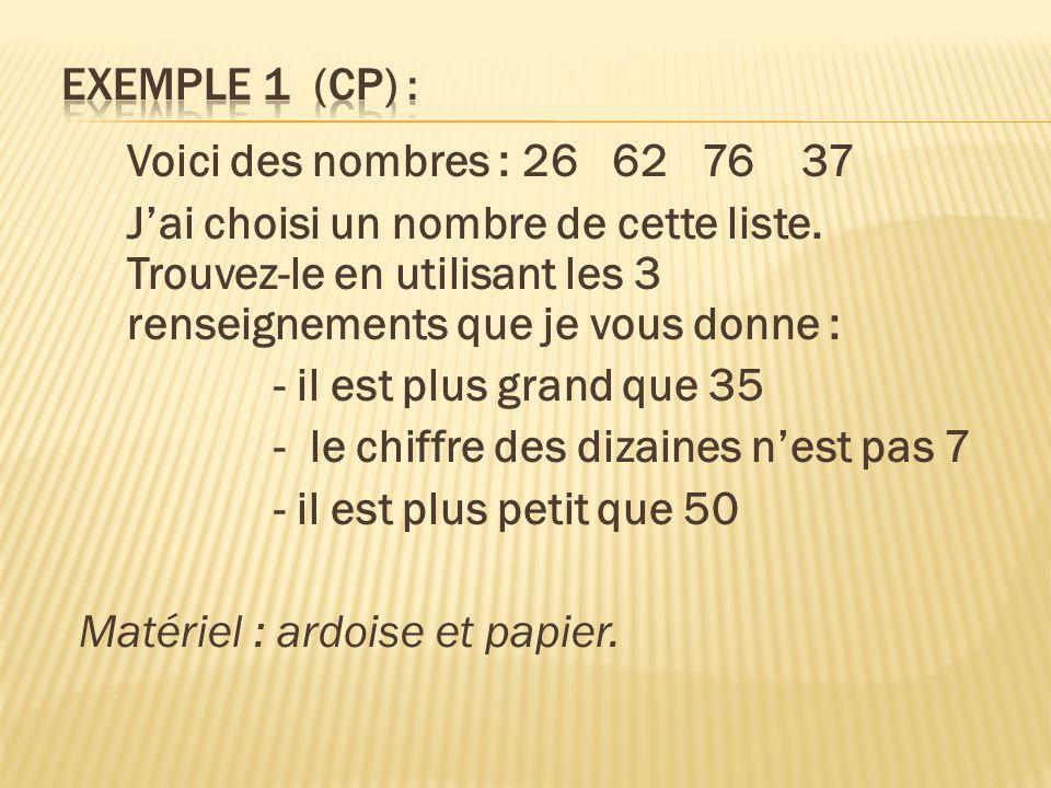 Exemple 1 (CP) : Voici des nombres : 26 62 76 37.